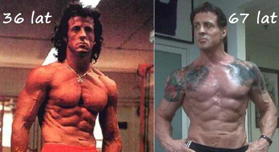 Sylvester Stallone 36 i 67 lat - sylwetka